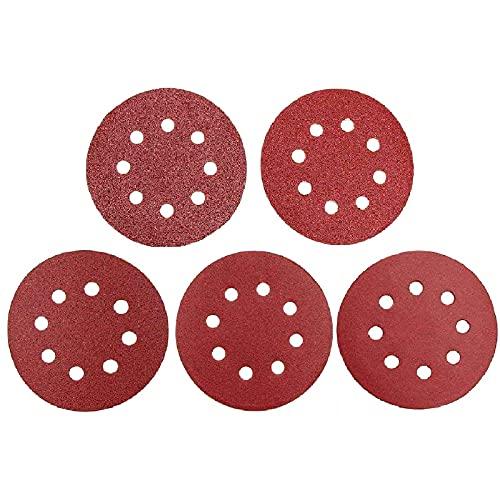100 unidades de Papel de Lija Abrasivos ,Lijas para Lijadora Orbital 125mm 8 Agujeros incluye grano 20 x 60, 80, 120, 180, 240
