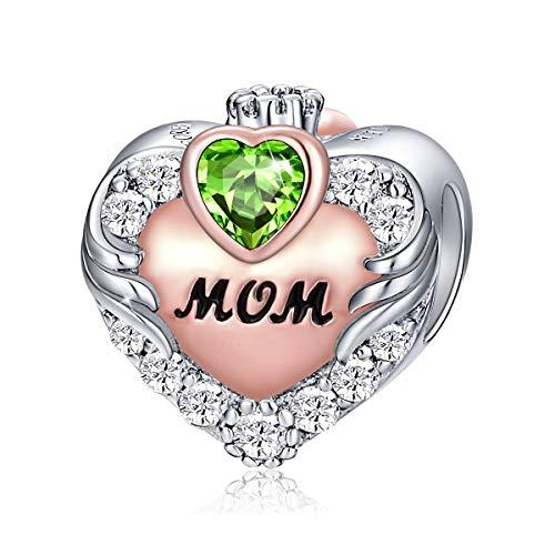 FOREVER QUEEN Love Heart Mom August Birthstone Charm for Bracelet 925...