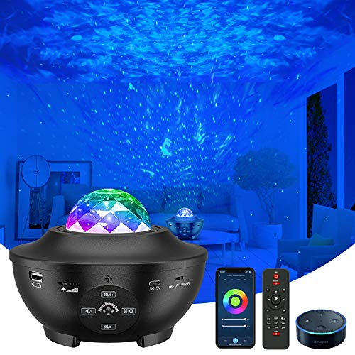 Star Projector, VAISEKE Galaxy Projector Work with Alexa Google Assistant, Night Light Projector with Bluetooth Music Speaker, for Baby Kids Bedroom Game Rooms Home Theatre Night Light Ambiance