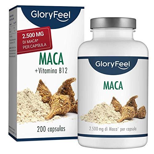 GloryFeel® Integratore Maca 2500mg ad Alto Dosaggio - 200 Capsule Vegane - Estratto Puro di Radice Maca del Perù + Vitamina B12 - Clinicamente Testato - Senza Additivi - Prodotto in Germania