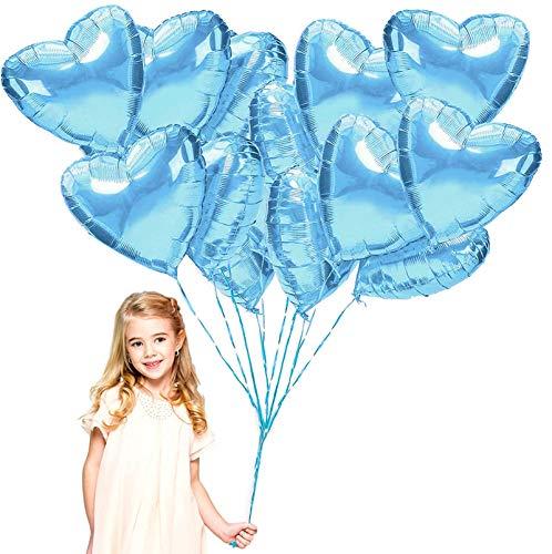 Sunshine smile Palloncini Foil,Palloncini in Elio,Palloncini stagnola a Forma,Palloncini Compleanno,Palloncini di Cuore Oro Rosa per Compleanno, Matrimonio (Azzurro)