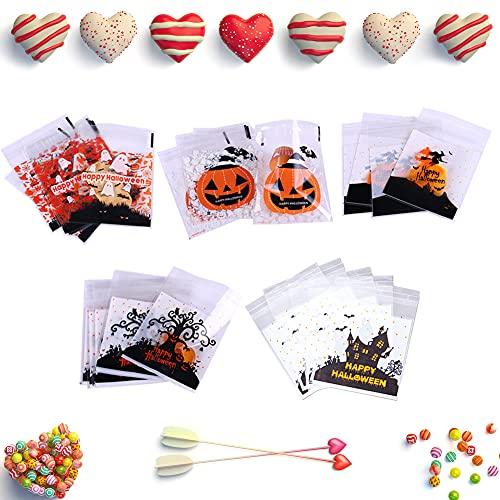 Bolsa Regalo Halloween,500 piezas Bolsas para Chuches,5 patrones,Bolsas de Caramelos de Halloween,Halloween Bolsas de Bocadillos Transparentes Autoadhesivas