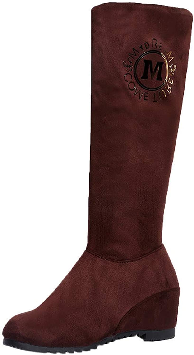 JaHGDU Women Wedge High Heel Martin Boots in Hose Boots Long Boots Knee High Leisure Elegant Cosy Wild Tight Super Casual Quality for Womens