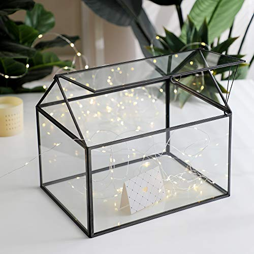 Purzest Large Glass Geometric Terrarium Container Tabletop Large Close House Shape Box Planter for Succulent Plant Moss Fern with Swing Lid Black Decor 12 x 9 x 10 inches, No Plants Included