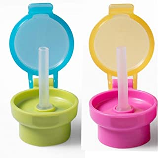 Spill-proof Straw Cap – Portable Juice Soda Water Bottle Twist Cover Cap with Straw
