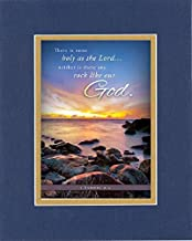 GoodOldSaying - Poem for Inspirations - There is none holy as the Lord .(1 Samuel 2:2) on 8x10 Biblical Verse set in Double Mat (Blue On Gold) - A Priceless Poetry Keepsake Collection