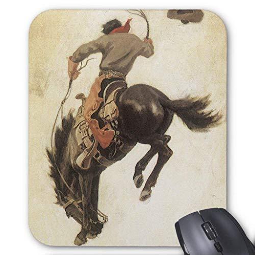 Muis Mat, Gaming Muis Pad Grote Grootte 300x250x3mm Dikke Vintage Western, Cowboy Op een Bucking Bronco Paard Verlengde Muis Pad Antislip Rubber