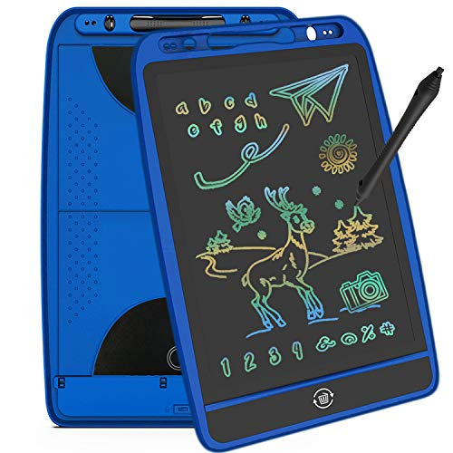 mom&myaboys 10 Electronic inch LCD Writing Tablet Drawing for Kids Age 3+,Best Gifts Toys for 4-12 Years Old Boys and Girls, Erasable Message Doodle Board with Color Screen for Teens/Addults. (Blue)