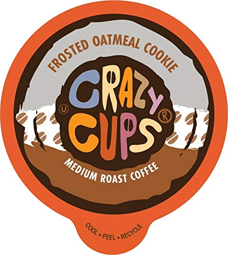 Crazy Cups Flavored Coffee Pods for Single Serve Keurig K Cups Machines, Oatmeal Cookie K Cups, Medium Roast Coffee in Recyclable Pods, 80 Count