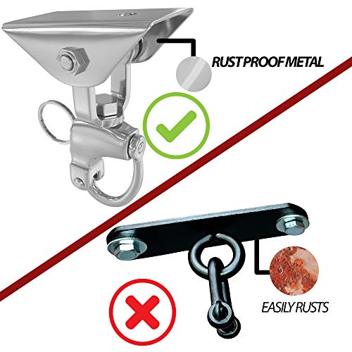 Senshi Japan Stainless Steel Anti Rust 360 Punch Bag Suspension Ceiling Hook Speedball Ceiling Bracket - Wall And Ceiling Mount For Heavy Punch Boxing Bags Muay Thai - Holds Up To Half Ton