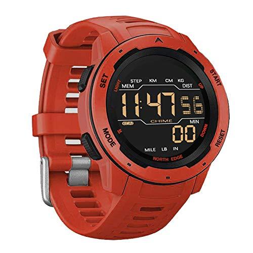 CYCPACK Reloj Digital Deportivo al Aire Libre 50M Reloj de Pulsera Militar Inteligente Resistente al Agua para Hombres con podómetro/Contador de calorías/Cronómetro Adecuado para Correr Natación,Rojo