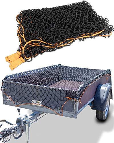 CargoVA® Intelligentes Anhängernetz dehnbar 1x2 bis 2x3 M - elastisches Hängernetz schwarz mit Gummiseil und Eckenmarkierung - für die perfekte Ladungssicherung