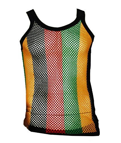 UD Accessories Mens Fitted String Mesh Vest Muscle Fishnet Cotton Rasta Multi-Colored X-Large