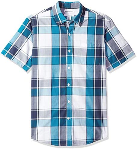 Amazon Essentials Men s Slim Fit Short Sleeve Plaid Casual Poplin Shirt Teal Navy Large product image