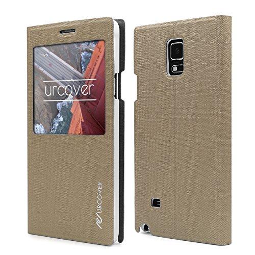 Urcover Custodia Wallet Samsung Galaxy Note 4 | Flip Cover con Finestra S-View | Wallet Case Rigida con Supporto Stand | Portafoglio Libro in Champagne Oro