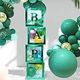 Termichy 4 cajas de globos para decoraciones de baby shower, caja de presentación transparente para niños y niñas fiesta de cumpleaños (verde)