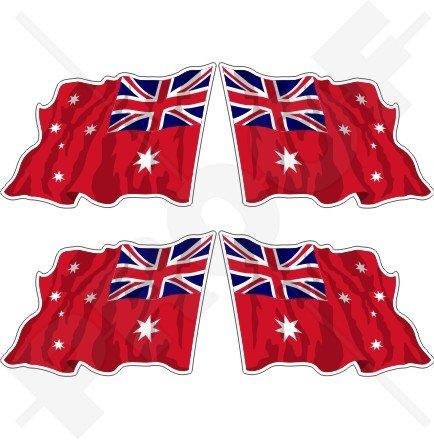 Australie Red Ensign Merchant Saluant Drapeau australien 5,1 cm (50 mm) en vinyle Bumper Stickers, Stickers x4