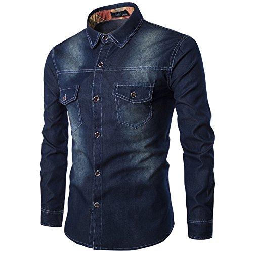 LEOCLOTHO Herren Langarm Jeanshemd Denim Hemden Langarm Freizeit Shirts Hemd Button Shirt Top Bluse Schwarz XL