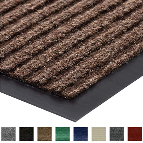 Gorilla Grip Original Low Profile Rubber Door Mat, 35x23, Heavy Duty, Durable Doormat for Indoor and Outdoor, Waterproof, Easy Clean, Home Rug Mats for Entry, Patio, High Traffic, Brown
