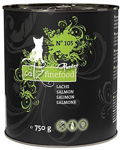 catz finefood Purrrr Lachs Monoprotein Katzenfutter nass N° 105, für ernährungssensible Katzen, 6 x 750 g