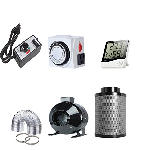 TopoGrow 4'' Inline Fan with 4' Carbon Filter Ducting Clamps Combo+Variable Fan Speed Controller + Humidity Monitor + Analog Timer for Hydroponic Grow Tent Ventilation (4' Fan Filter Kit+Accessories)