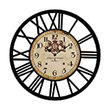 Vintage Industrial Rustic Farmhouse Style Home Decorative Black and Iron Frame Home Decoration Metal Clock