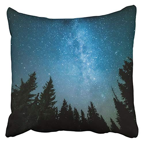 Throw Cushion Cover Blue Night The Milky Way Rises Over Pine Trees On Foreground Colorful Sky Forest Star Space Starry 50X50 Cm