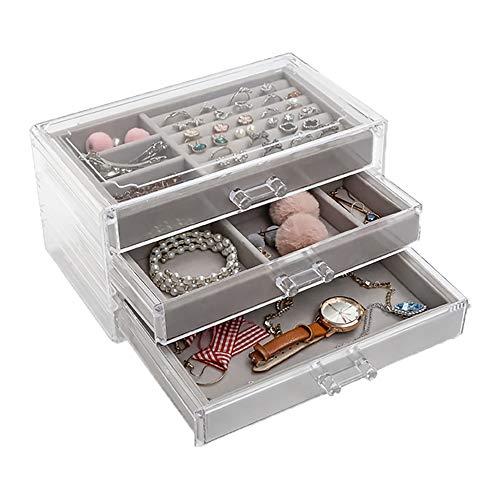 ジュエリーボックス 宝石箱 アクセサリーケース ネックレス 指輪 ピアス 3段3杯引 内側 ベルベット 透明アクリル製 贈り物 プレゼント グレー色