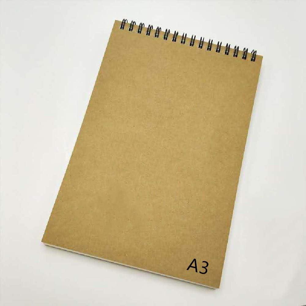 Youler sketchbook,Papel de dibujo , Tamaño A3 (42*29.7 cm), 60 lados (30 páginas), Papel de 160 gsm sin ácido, Encuadernado en espiral, Microperforado, Cuaderno de bocetos para medios húmedos y secos