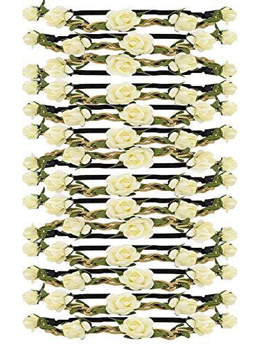Tomkity14 Pezzi Ghirlande Fasce del Fiori Bianco con Il Nastro Elastico Regolabile (14 Pezzi Bianco)