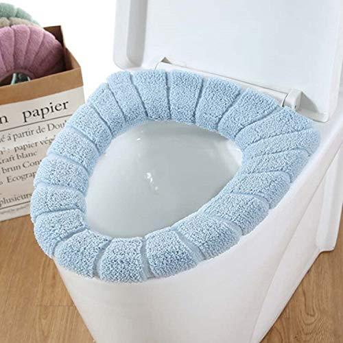 Toilet Mat Lavable Doux et Chaud Universel de siège de Toilette Mat Set for Home Décor Case closestool Tapis siège de Toilette Couvercle CoverAccessories 2pc (Colore : White Blue)