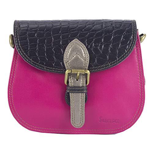 Sunsa Damen Kleine Bunte Ledertasche Umhängetasche Schultertasche Mini Messengertasche Trachtentasche Damentasche Crossbody Frauentasche upcycled Leder Tasche Mädchentasche Handtasche