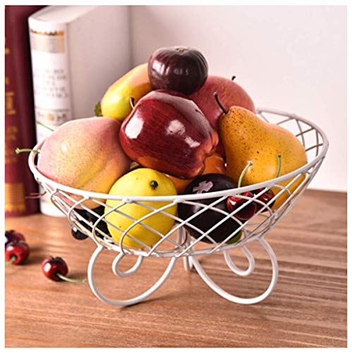 Daily Accessories Fruit Plate Living Room Fruit Bowl European Dried Fruit Plate Household Simple Fruit Basket (color : White)