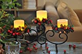 YAKii Classic Black Iron Stand with 3 Real Wax Flameless Candles, Scroll Candle Holder with LED Candles, for Thanksgiving &Christmas Day Decoration.
