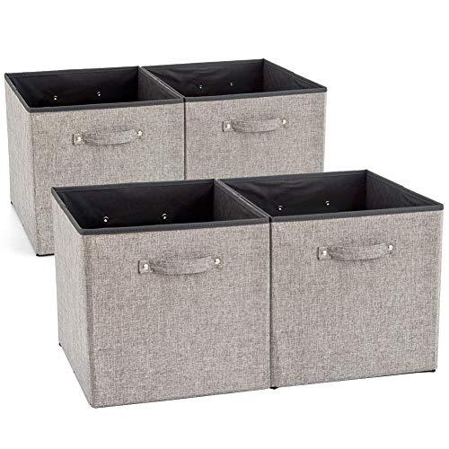 EZOWare 4 pcs Cajas de Almacenaje, Cubos Decorativos de Tela con Manijas para Ropa, Juguetes, Armario, Dormitorio, Estanterías y Mas - Gris y Negro (33x38x33cm)