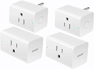Smart Plug Wifi Outlet 15A Compatible With Alexa, Google Home and IFTTT, AWOW Mini Smart Socket, No Hub Required,Remote Control Your Home Appliances from Anywhere, Only Supports 2.4GHz Network