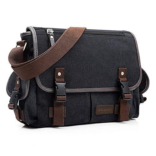 Evaduol Umhängetaschen Herren, aus Vintag Canvas, Premium Herrentasche, Laptoptasche für 13,3 Zoll Laptop, Schultertasche | Aktentasche | Messenger Bag | Schwarz…