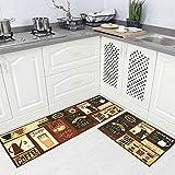 Carvapet 2 Piece Kitchen Rug Set Non-Slip Backing Mat Throw Rug for Kitchen Doormat Runner Rug Set,Cafe Design (17'x48'+17'x24')