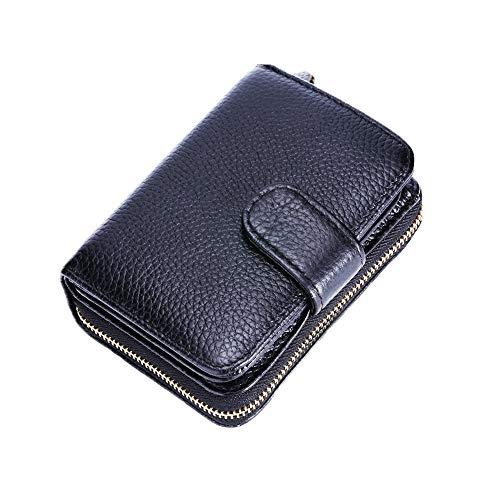 SPECOOL Tarjetero para Tarjetas de Crédito,RFID Titular de la Tarjeta de Crédito de Cuero con Cremallera para Muje y Hombre (Negro)