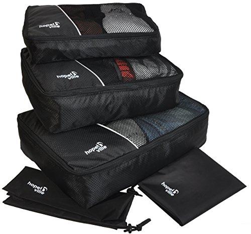 HOPEVILLE Kleidertaschen-Set 5-teilig, mit 3 Koffertaschen - Plus einem Wäschebeutel und einem Schuhbeutel, Premium Packing Cubes für perfekt organisiertes Reisegepäck (Schwarz)