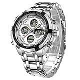 Golden Hour Reloj de Pulsera analógico Digital de Acero Inoxidable para Hombres y Hombres al Aire Libre, Resistente al Agua, Gran Reloj de Pulsera (Silver White)