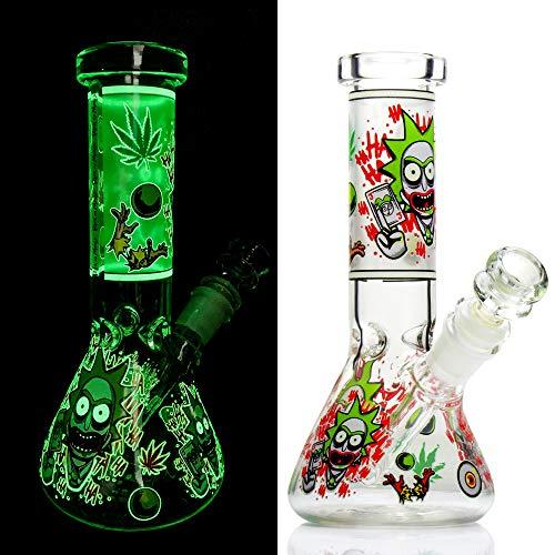 REANICE Glas Bongs Mini Bong Wasserpfeife Becher Tabakpfeife Fluoreszenz Pipe 14.5mm Bowl -Gr¨¹n
