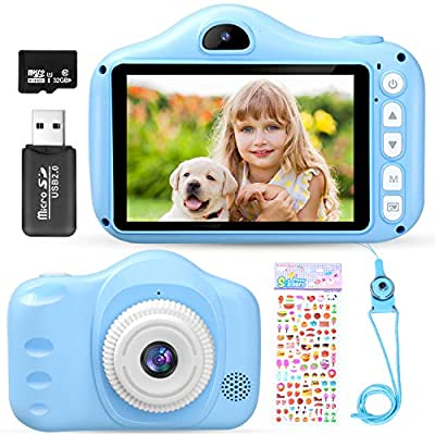 MICRODATA Boy Toys Kids Selfie Camera, HD Digital Video Cameras for Toddler with 3.5 Inches Large IPS Screen, Best Birthday Gifts Toy for 3 4 5 6 7 8 Year Old Boy with 32GB TF Card by XINRUI