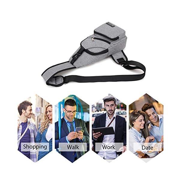 51ErQMRNn3L. SS600  - FANDARE Nuevo Bolsa de Pecho Unisexo Bolsa Deportiva de Hombro Hombres Mujeres Bolsa de Mochila con USB,para Acampada…