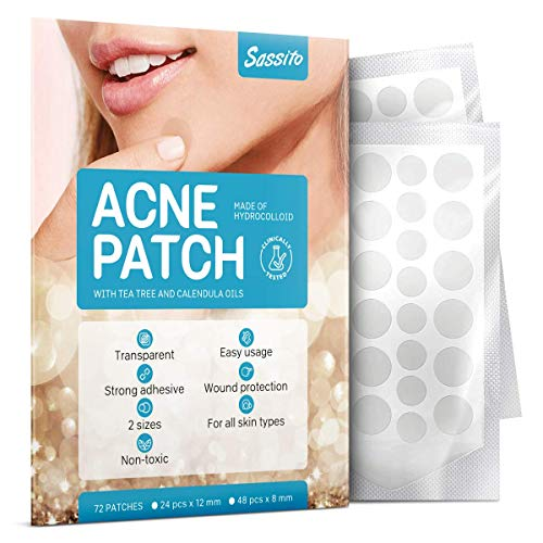 Sassito Acne Healing Patches 72 pcs – Hydrocolloid Patch for Pimples Treatment – Facial Stickers for Blemish and Inflamed Zits – Scar Remover with Calendula Oil and Tea Tree – For all Skin Types