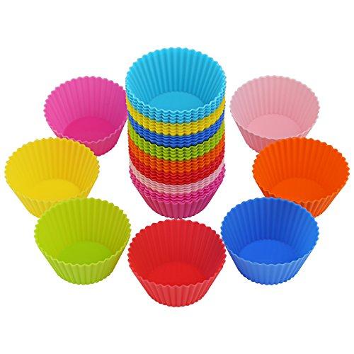 Bäcker & Lecker 40x Muffinformen Silikon Cupcake Wiederverwendbare Muffinförmchen Backform (8 Farben)