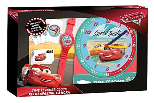 Hovuk® Disney Charakter Cars Geschwindigkeits-Tiere, lizenziert, Unisex, Zeitlehrer, Quarz-Armbanduhr, Aktivitätskarten, Set ab 3 Jahren