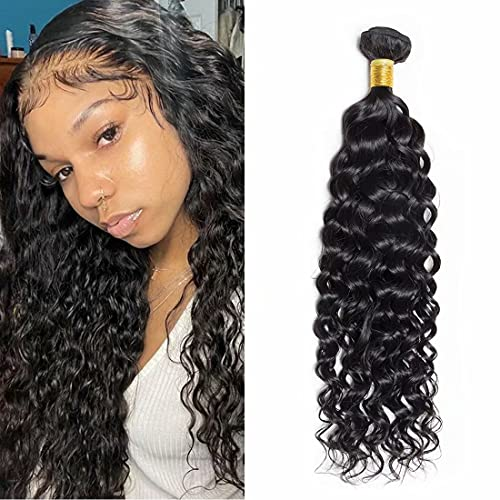 Maxine Unprocessed Brazilian Virgin Water Hair Extensions 1 Bundle, 100% Pure Real Brazilian Human Hair Weave, 9A Grade, Natural Black Color, Full Hea