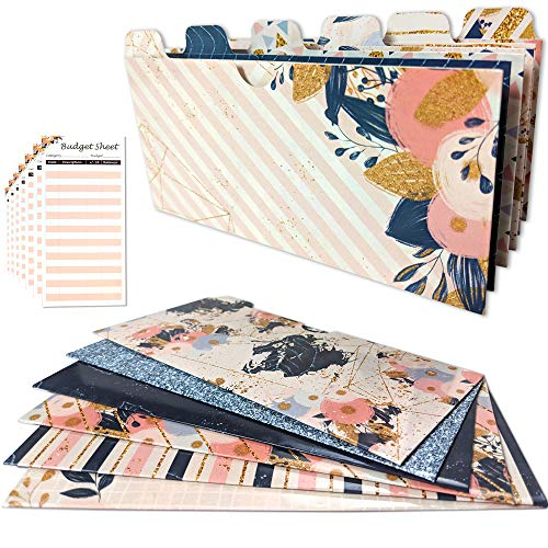 12 Laminated Wallet Budget Cash Envelopes with Tabs - Includes 12 Budget Tracking Sheets and Stickers | Tabbed Cash Envelope System | Money Budget Envelopes, Receipt, Planner or Coupon Organizer