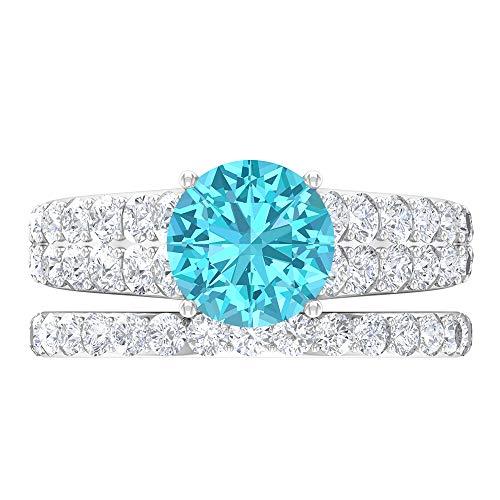 Anillo solitario para novia, 3.78 piedras preciosas redondas, D-VSSI Moissanite 8 mm esmeralda difusa, anillo cónico con piedras laterales, 14K White Gold, Emerald Diffused, Size:US 46